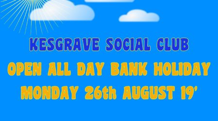 Open All Day – Bank Holiday Monday 26th August 2019