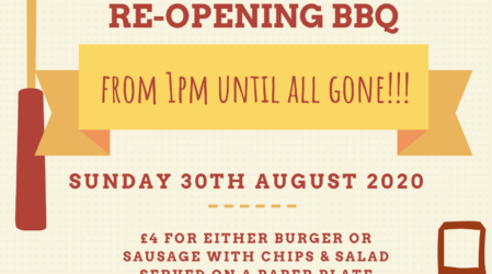 Re-Opening BBQ From 1pm On Sunday 30th August 2020